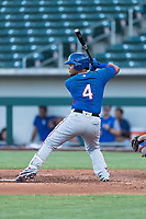AZL Rangers designated hitter Maxwell Morales (4) at bat during an Arizona League playoff game against the AZL Cubs 1 at Sloan Park on August 29, 2018 in Mesa, Arizona. The AZL Cubs 1 defeated the AZL Rangers 8-7. (Zachary Lucy/Four Seam Images)