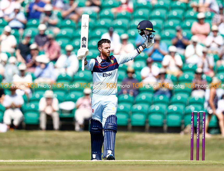 Graham Clark celebrates his hundred for Durham during Kent Spitfires vs Durham, Royal London One-Day Cup Cricket at The Spitfire Ground on 22nd July 2021