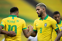 9th October 2020; Arena Corinthians, Sao Paulo, Sao Paulo, Brazil; FIFA World Cup Football Qatar 2022 qualifiers; Brazil versus Bolivia; Neymar and Douglas Luiz of Brazil celebrates scored goal by Philippe Coutinho in the 73th minute 5-0