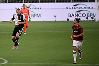 Leonardo Bonucci of Juventus in action during the Serie A football match between AC Milan and Juventus FC at stadio San Siro in Milan ( Italy ), July 7th, 2020. Play resumes behind closed doors following the outbreak of the coronavirus disease. <br /> Photo Federico Tardito / Insidefoto