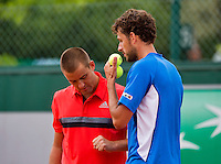 France, Paris , May 26, 2015, Tennis, Roland Garros, Doubles Haase/Youzhny<br /> Photo: Tennisimages/Henk Koster
