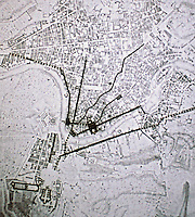 Map of Rome during papacy of Julius II (1503-13) with help of architect Donato Bramante.