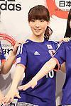 Adidas Japan football ambassador Yuko Oshima, launches 'AKB 48 marking adidas Japan football team uniform' sale starting at Alpen Co, Ltd. in Tokyo on 3rd March 2014. (Photo by Motoo Naka/NipponNews)