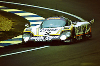 12.06.1988. Le Mans 24 Hours. The winning Tom Walkinshaw Racing Jaguar XJR-9LM driven by Jan Lammers, Johnny Dumfries and Andy Wallace. Dumfries, real name John Colum Crichton-Stuart, 7th Marquis of Bute, passed away on 22nd March 2021 after a brief illness