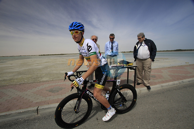 Garmin-Cervelo team rider Ramunas Navardauskas (LTU) signs on before the start of Stage 4 of the 2012 Tour of Qatar from Al Thakhira to Madinat Al Shamal, Qatar. 8th February 2012.<br /> (Photo Eoin Clarke/Newsfile)