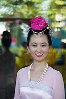 Beautiful Asian Woman, Seafair Torchlight Parade, Seattle, WA, USA.