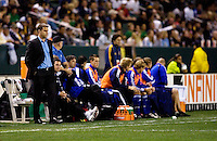 Kansas City Wizards head coach Curt Onalfo and Wizards bench during a MLS match. The LA Galaxy defeated the Kansas City Wizards 3-1 at Home Depot Center stadium in Carson, Calif., on Saturday, May 24, 2008.