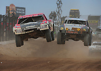 Mar. 19, 2011; Chandler, AZ, USA;  LOORRS pro two driver Rodrigo Ampudia left and Greg Adler during round one at Firebird International Raceway. Mandatory Credit: Mark J. Rebilas-US PRESSWIRE