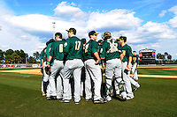Siena Saints team meeting during practice before a game against the Central Florida Knights at Jay Bergman Field on February 16, 2013 in Orlando, Florida.  Siena defeated UCF 7-4.  (Mike Janes/Four Seam Images)