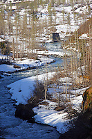 Anchorage-Denali scene, old rr bridge abutment at river