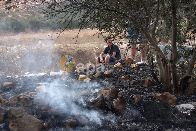 Palestinian farmers from the village of Hawara extinguish fire at their olives tree grove that was allegedly set ablaze by Jewish settlers from the nearby settlement of Yitzhar in the northern West Bank on October 7, 2010 .  Photo by Wagdi Eshtayah