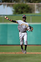Scottsdale Scorpions shortstop Alen Hanson (13), of the Pittsburgh Pirates organization, during an Arizona Fall League game against the Mesa Solar Sox on October 15, 2013 at HoHoKam Park in Mesa, Arizona.  Mesa defeated Scottsdale 7-4.  (Mike Janes/Four Seam Images)