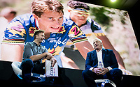 """tripple Tour winner Greg Lemond interviewed on stage<br /> <br /> Rouleur Classic London 2019<br /> """"The World's Finest Road Cycling Exhibition""""<br /> <br /> ©kramon"""