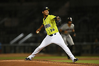 Pitcher Jose Moreno (26) of the Columbia Fireflies delivers a pitch in a game against the Hickory Crawdads on Wednesday, August 28, 2019, at Segra Park in Columbia, South Carolina. Hickory won, 7-0. (Tom Priddy/Four Seam Images)