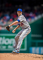 5 April 2018: New York Mets starting pitcher Jacob deGrom on the mound against the Washington Nationals during the Nationals' Home Opener at Nationals Park in Washington, DC. The Mets defeated the Nationals 8-2 in the first game of their 3-game series. Mandatory Credit: Ed Wolfstein Photo *** RAW (NEF) Image File Available ***