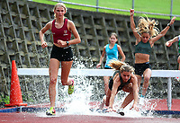 Siobahn Balle of Kings College (L) and Bella Brown, 3000m Steeple Chase. Auckland Secondary Schools Athletic Championships, Mt Smart Stadium, Auckland, Tuesday 30 March 2021. Photo: Simon Watts/www.bwmedia.co.nz