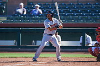 Surprise Saguaros right fielder LaMonte Wade (15), of the Minnesota Twins organization, at bat during an Arizona Fall League game against the Scottsdale Scorpions on October 27, 2017 at Scottsdale Stadium in Scottsdale, Arizona. The Scorpions defeated the Saguaros 6-5. (Zachary Lucy/Four Seam Images)