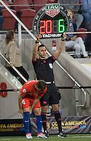 Action photo during the match Argentina vs Chile, Corresponding Group -D- America Cup Centenary 2016, at Levis Stadium<br /> <br /> Foto de accion durante el partido Argentina vs Chile, Correspondiante al Grupo -D-  de la Copa America Centenario USA 2016 en el Estadio Levis, en la foto: Jose Pedro Fuenzalida de Chile<br /> <br /> <br /> 06/06/2016/MEXSPORT/David Leah.