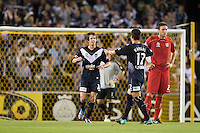 MELBOURNE, AUSTRALIA - OCTOBER 30: Robbie Kruse of the Victory celebrates his goal with his team mate Rodrigo Vargas during the round 12 A-League match between the Melbourne Victory and Adelaide United at Etihad Stadium on October 30, 2010 in Melbourne, Australia.  (Photo by Sydney Low / Asterisk Images)