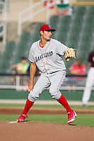 Lakewood BlueClaws starting pitcher Tyler Viza (21) in action against the Kannapolis Intimidators at CMC-NorthEast Stadium on July 20, 2014 in Kannapolis, North Carolina.  The Intimidators defeated the BlueClaws 7-6. (Brian Westerholt/Four Seam Images)