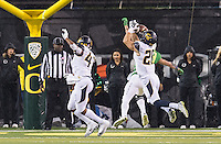 EUGENE, OR - November 7, 2015: The Cal Bears Football team vs the Oregon Ducks at California Memorial Stadium in Berkeley, CA.  Final score, Cal Bears 28, Oregon Ducks 44.