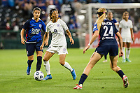TACOMA, WA - JULY 31: Yuki Nagasato #17 of Racing Louisville FC looks for a pass during a game between Racing Louisville FC and OL Reign at Cheney Stadium on July 31, 2021 in Tacoma, Washington.