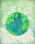Illustrative image of wind turbine on earth representing go green concept