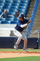 Francisco Thomas (17) of Osceola High School in Kissimmee, Florida playing for the Tampa Bay Rays scout team during the East Coast Pro Showcase on July 28, 2015 at George M. Steinbrenner Field in Tampa, Florida.  (Mike Janes/Four Seam Images)