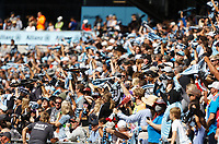ST. PAUL, MN - AUGUST 21: Minnesota United FC Fans waves scarfs before a corner kick during a game between Sporting Kansas City and Minnesota United FC at Allianz Field on August 21, 2021 in St. Paul, Minnesota.