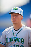Daytona Tortugas pitcher Nick Howard (33) during a game against the Dunedin Blue Jays on April 22, 2018 at Dunedin Stadium in Dunedin, Florida.  Daytona defeated Dunedin 5-1.  (Mike Janes/Four Seam Images)