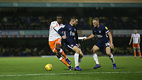 Blackpool's Donervon Daniels goes past Southend United's Harry Bunn and Sam Mantom<br /> <br /> Photographer Rob Newell/CameraSport<br /> <br /> The EFL Sky Bet League One - Southend United v Blackpool - Saturday 17th November 2018 - Roots Hall - Southend<br /> <br /> World Copyright © 2018 CameraSport. All rights reserved. 43 Linden Ave. Countesthorpe. Leicester. England. LE8 5PG - Tel: +44 (0) 116 277 4147 - admin@camerasport.com - www.camerasport.com