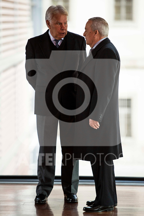 Felipe Gonzalez and Carlos Solgacha attends to the act of imposition of the great cross of the civil order of Alfonso X el Sabio to D. Francisco Luzon Lopez at Reina Sofia Museum in Madrid. March 13, 2017. (ALTERPHOTOS/Borja B.Hojas)