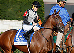 LEXINGTON, KY - October 6, 2017. #1 Princess Warrior and jockey Brian Hernandez Jr. before finishing 2nd in the 66th running of the Darley Alcibiades Grade 1 $400,000 at Keeneland Racecourse.  Lexington, Kentucky. (Photo by Candice Chavez/Eclipse Sportswire/Getty Images)