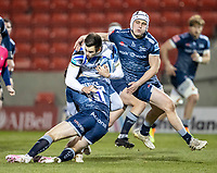 12th February 2021; AJ Bell Stadium, Salford, Lancashire, England; English Premiership Rugby, Sale Sharks versus Bath; Will Muir of Bath Rugby is tackled by Tom Roebuck of Sale Sharks