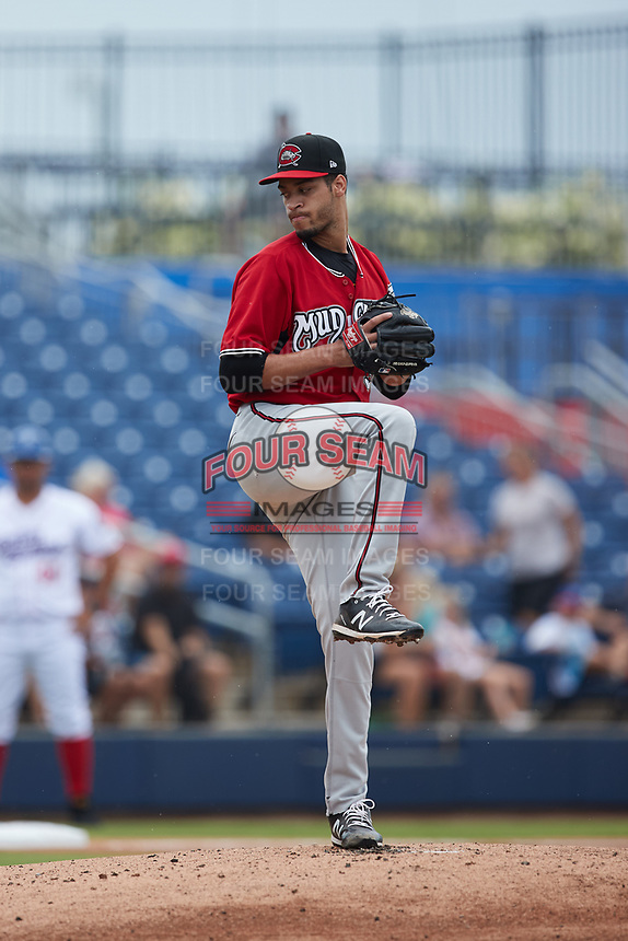 Carolina Mudcats starting pitcher Antoine Kelly (36) in action against the Kannapolis Cannon Ballers at Atrium Health Ballpark on July 18, 2021 in Kannapolis, North Carolina. (Brian Westerholt/Four Seam Images)