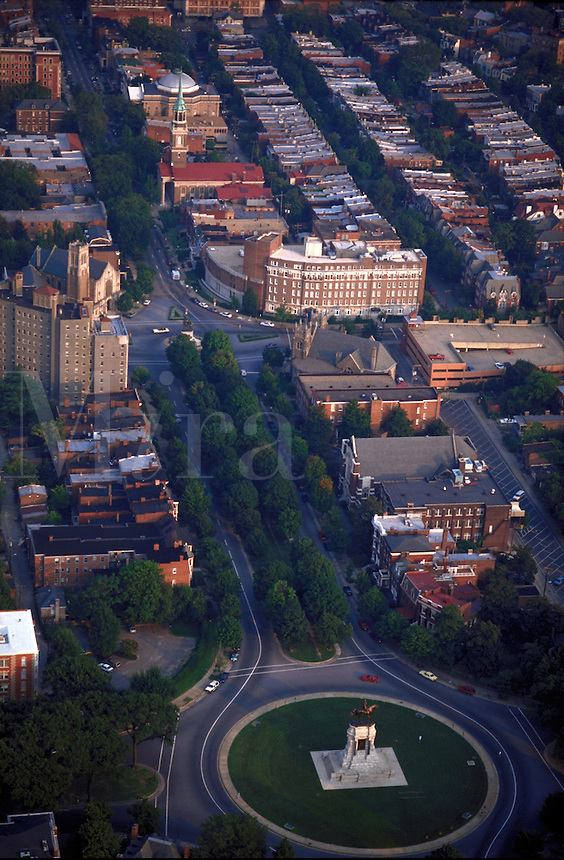 Aerial view of Richmond's historic Monument Ave. Richmond Virginia USA.