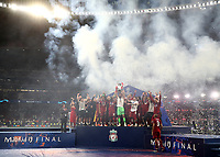 Liverpopol's goalkeeper Alisson Becker holds up the trophy at the end of the UEFA Champions League final football match between Tottenham Hotspur and Liverpool at Madrid's Wanda Metropolitano Stadium, Spain, June 1, 2019. Liverpool won 2-0.<br /> UPDATE IMAGES PRESS/Isabella Bonotto
