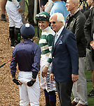 DEL MAR, CA - NOVEMBER 03: Trainer Bob Baffert, right, talks with riders before the Breeders' Cup Las Vegas Dirt Mile on Day 1 of the 2017 Breeders' Cup World Championships at Del Mar Thoroughbred Club on November 3, 2017 in Del Mar, California. (Photo by Casey Phillips/Eclipse Sportswire/Breeders Cup)