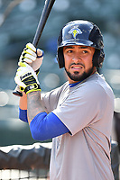 Catcher Ali Sanchez (20) of the Columbia Fireflies works out before a game against the Lexington Legends on Friday, April 21, 2017, at Spirit Communications Park in Columbia, South Carolina. Columbia won, 5-0. (Tom Priddy/Four Seam Images)