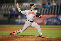 Bowie Baysox relief pitcher Lucas Long (23) delivers a pitch during a game against the Harrisburg Senators on May 16, 2017 at FNB Field in Harrisburg, Pennsylvania.  Bowie defeated Harrisburg 6-4.  (Mike Janes/Four Seam Images)