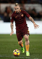 Calcio, Serie A: Roma, Stadio Olimpico, 7 febbraio 2017.<br /> Roma's Radja Nainggolan in action during the Italian Serie A football match between AS Roma and Fiorentina at Roma's Olympic Stadium, on February 7, 2017.<br /> UPDATE IMAGES PRESS/Isabella Bonotto