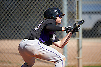 Colorado Rockies Vince Fernandez (36) during practice before an Instructional League game against SK Wyvern of Korea on October 5, 2016 at Salt River Fields at Talking Stick in Scottsdale, Arizona.  (Mike Janes/Four Seam Images)