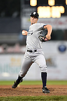 Staten Island Yankees pitcher Matt Borens (55) delivers a pitch during a game against the Batavia Muckdogs on August 7, 2014 at Dwyer Stadium in Batavia, New York.  Staten Island defeated Batavia 2-1.  (Mike Janes/Four Seam Images)