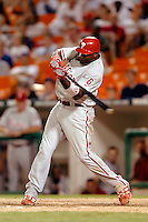 3 September 2005: Ryan Howard, first baseman for the Philadelphia Phillies, at bat during a game against the Washington Nationals. The Nationals defeated the Phillies 5-4 at RFK Stadium in Washington, DC. <br />