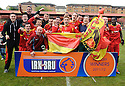 Albion Rovers players celebrates winning the Second Division Play Offs after beating Stranraer on penalties ....