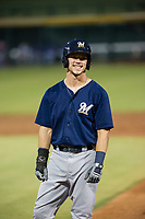 AZL Brewers designated hitter Tristen Lutz (45) stands on first base during a game against the AZL Cubs on August 1, 2017 at Sloan Park in Mesa, Arizona. Brewers defeated the Cubs 5-4. (Zachary Lucy/Four Seam Images)