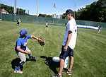 WATERBURY, CT, CT - 21 JULY - 072118JW03.jpg -- London Adams gets some pitching advice from former Detroit Tigers pitcher John Doherty Saturday morning at Municipal Stadium during the Family & Children's Aid and the MLB Alumni Association baseball clinic series for kids ages 6-16. Jonathan Wilcox Republican-American