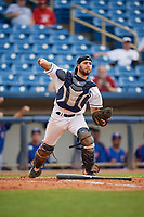 Lake County Captains catcher Jonathan Laureano (23) throws to first base on a dropped third strike during the first game of a doubleheader against the South Bend Cubs on May 16, 2018 at Classic Park in Eastlake, Ohio.  South Bend defeated Lake County 6-4 in twelve innings.  (Mike Janes/Four Seam Images)