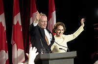 Shawinigan, Nov 28 2000<br /> Reelected Can Prime Minister Jean Chretien and wife Aline on election night in his Shawinigan riding<br /> Photo Pierre Roussel