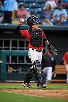 Jacksonville Jumbo Shrimp catcher Rodrigo Vigil (6) throws the back to the pitcher during a game against the Biloxi Shuckers on June 8, 2018 at Baseball Grounds of Jacksonville in Jacksonville, Florida.  Biloxi defeated Jacksonville 5-3.  (Mike Janes/Four Seam Images)